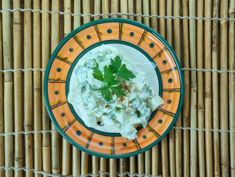 Türkischer Salat mit Zucchini und Jogurt lizenzfreies stockbild