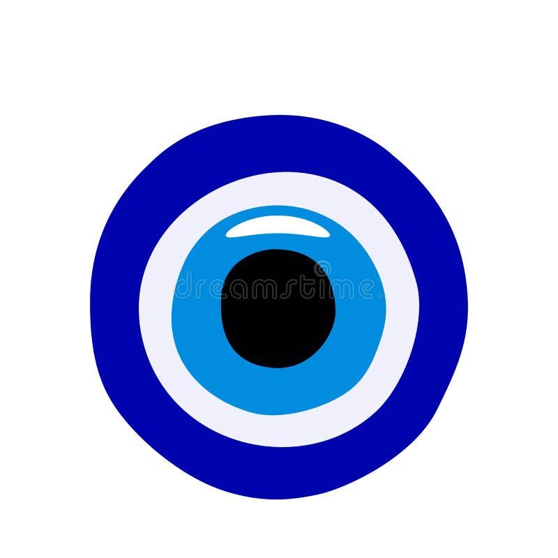 Türkisches Amulett gegen den bösen Blick, blaues türkisches Auge Nazar Bonkugu vom Glas Flache Vektorillustration vektor abbildung