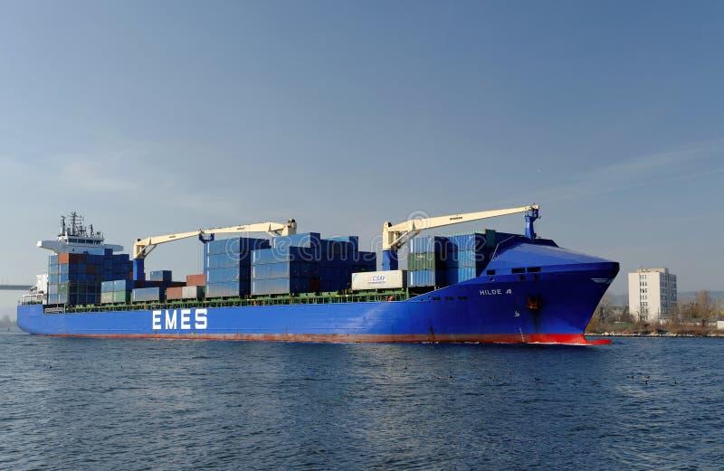 Türkisches Frachtschiff HILDE A stockbild