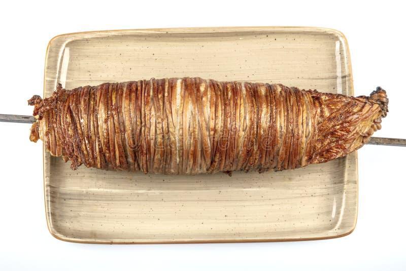 Türkisches Kokorec gemacht mit dem Schafdarm gekocht in den Holzofen Kokorech lizenzfreies stockfoto