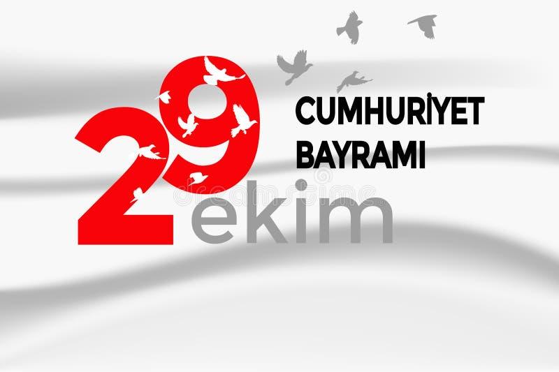 Türkisches nationales Festival 29 Ekim Cumhuriyet Bayrami Übersetzung: Glücklicher am 29. Oktober Tag der Republik Nationaltag in stock abbildung