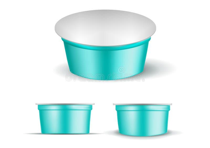 Türkisleerer Plastikbehälter für Jogurt Verpacken f?r Sahne und So?e lizenzfreie abbildung