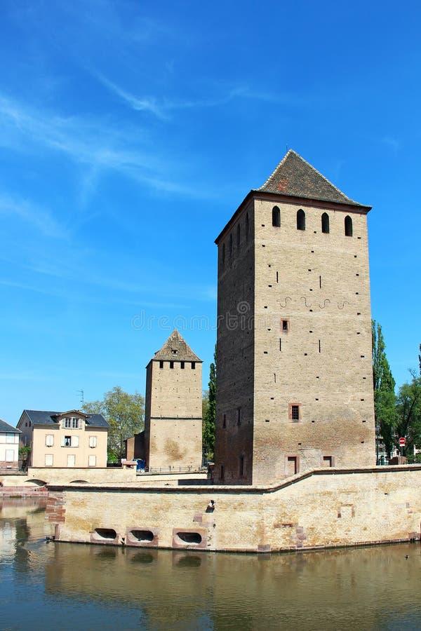 Türme Ponts Couverts, Straßburg, Frankreich lizenzfreie stockbilder