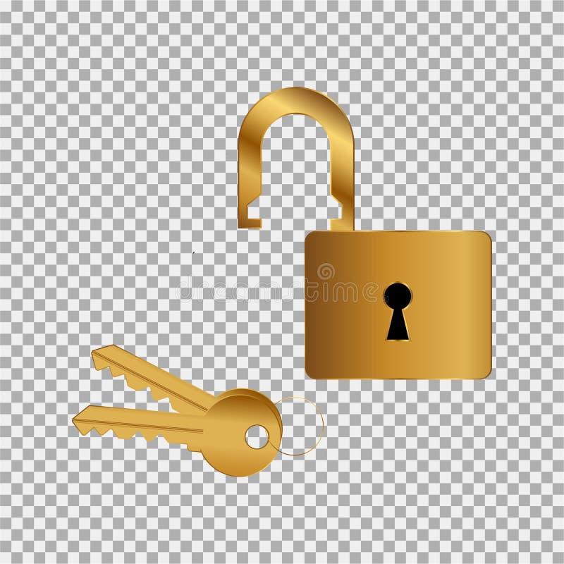 Türschloß, Vorhängeschloß, Schlüsselikonenvergoldetes gefärbt auf dem grauen Hintergrund stock abbildung