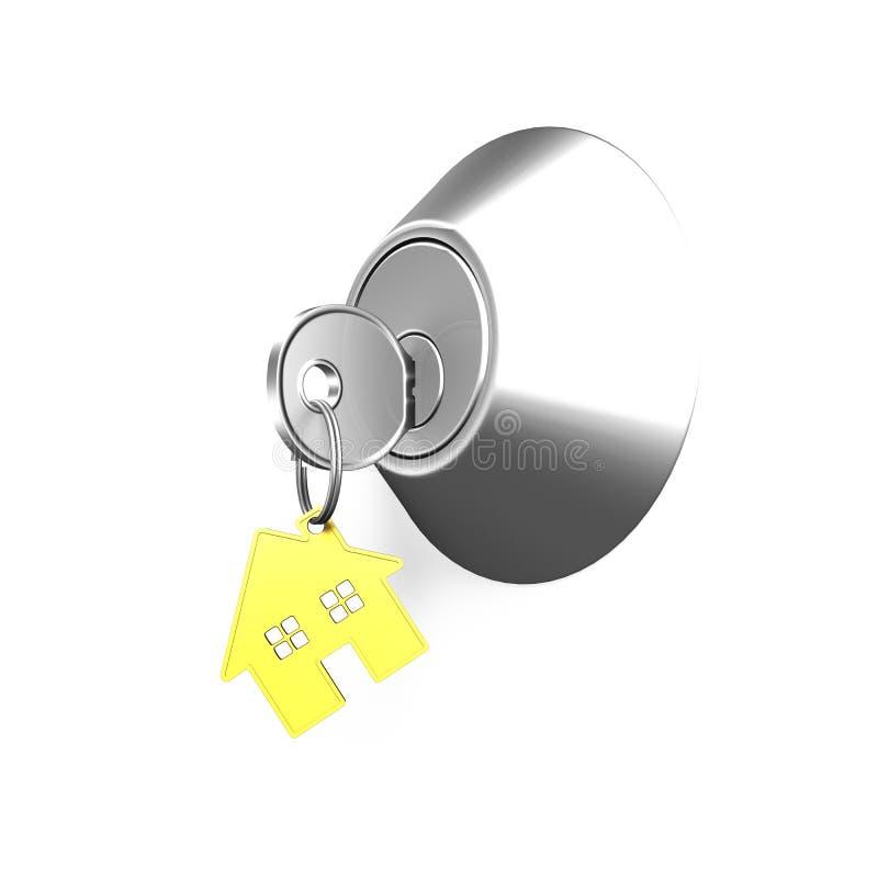Türschloss und Schlüssel mit Haus formen Schlüsselring vektor abbildung