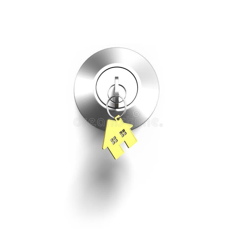 Türschloss und Schlüssel mit Hausformschlüsselring lizenzfreie abbildung