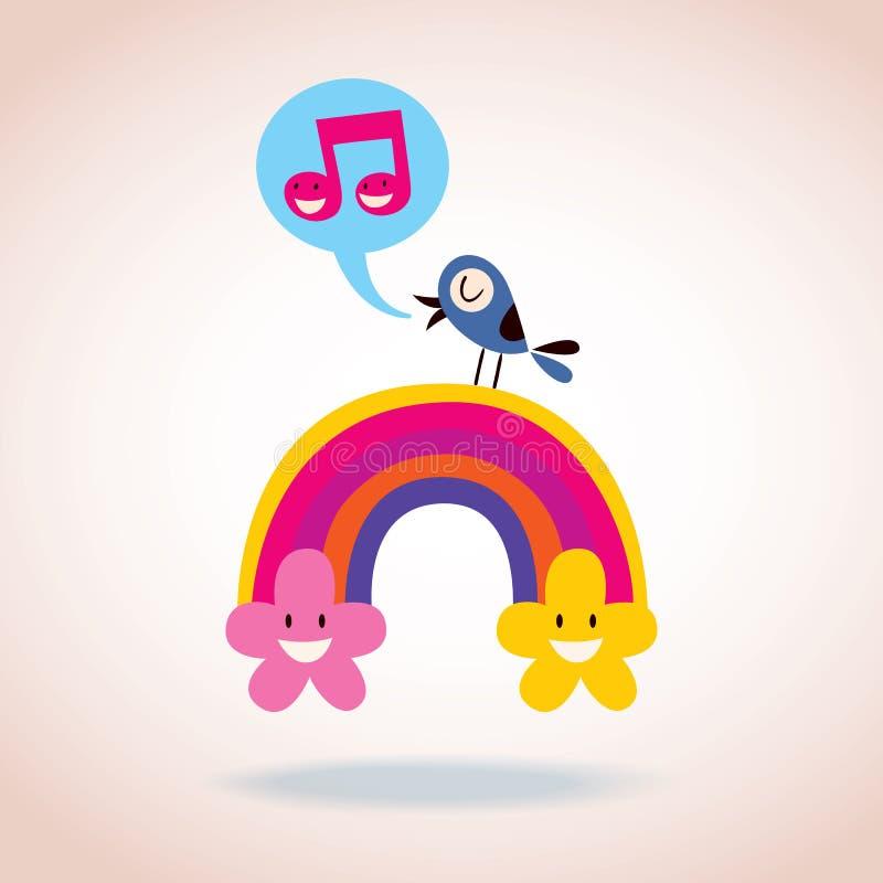 Tęcz chmury i śpiewacki ptak ilustracji