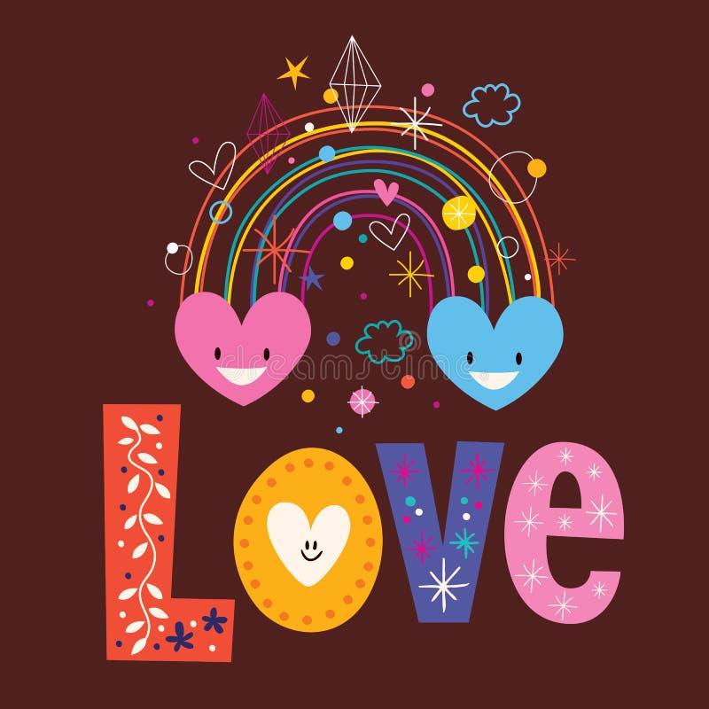 Tęcz serc słowa miłości typografii literowania teksta retro projekt ilustracji