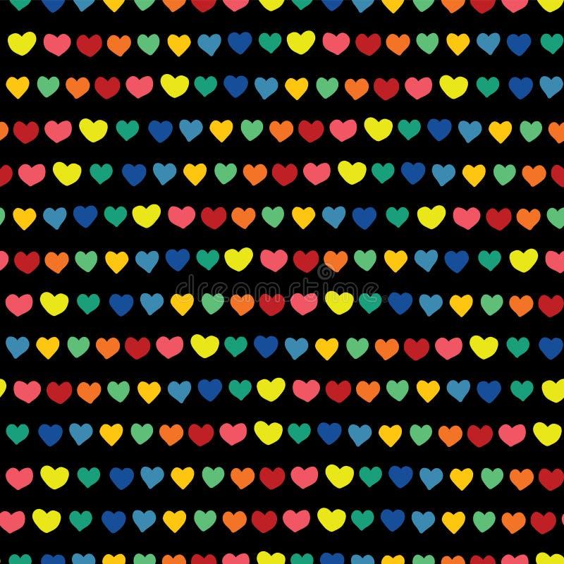 Tęcz serca wręczają patroszonego na czarnym tle wektor bezszwowy wzoru Błękitnej zieleni pomarańczowego koloru żółtego menchii cz royalty ilustracja