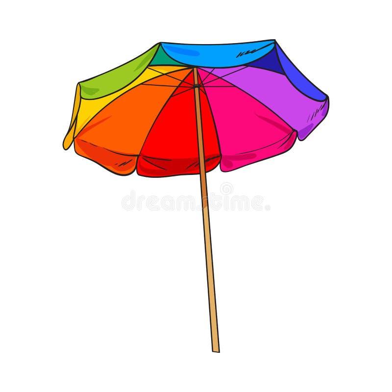Tęcza barwiąca, otwarty plażowy parasol, nakreślenie stylowa wektorowa ilustracja ilustracja wektor