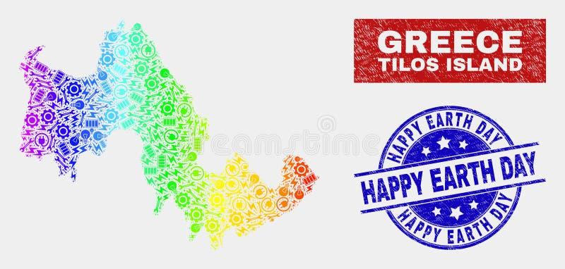 Tęcza Barwiąca Składowa Tilos wyspy mapa i cierpienie Ziemskiego dnia Szczęśliwi znaczki ilustracja wektor