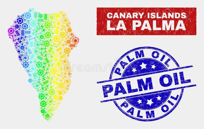 Tęcza Barwiący produkcja losu angeles Palmy wyspy Grunge i mapy oleju palmowego znaczki royalty ilustracja