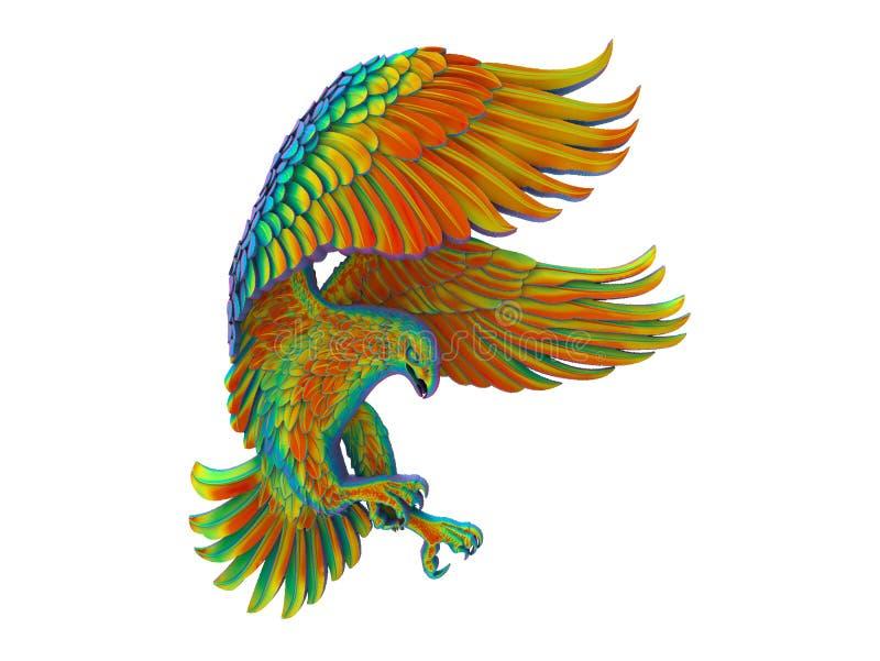 Tęcza barwiący szczegółowy latający orzeł ilustracji