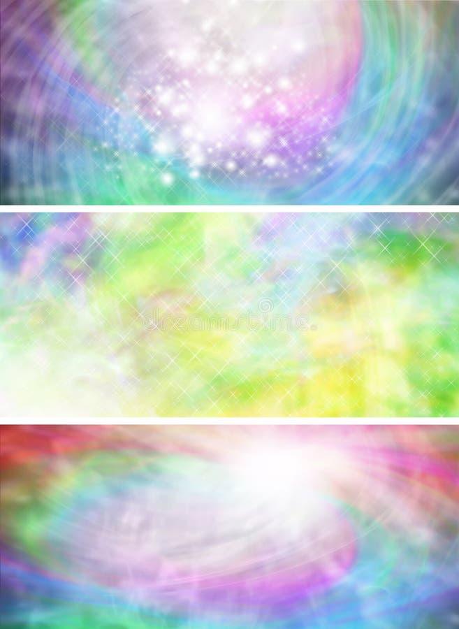 3 tęcza barwionego abstrakcjonistycznego iskrzastego sztandaru ilustracji
