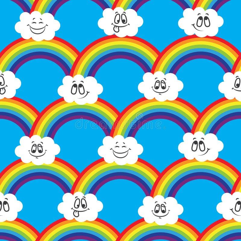 Tęcza, białe chmury emoticons Bezszwowy wzór dla twój pomysłów royalty ilustracja