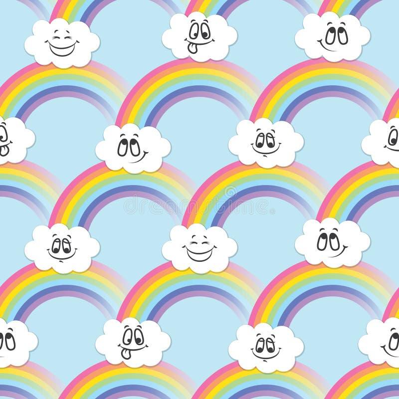 Tęcza, białe chmury emoticons Bezszwowy wzór dla twój pomysłów ilustracji