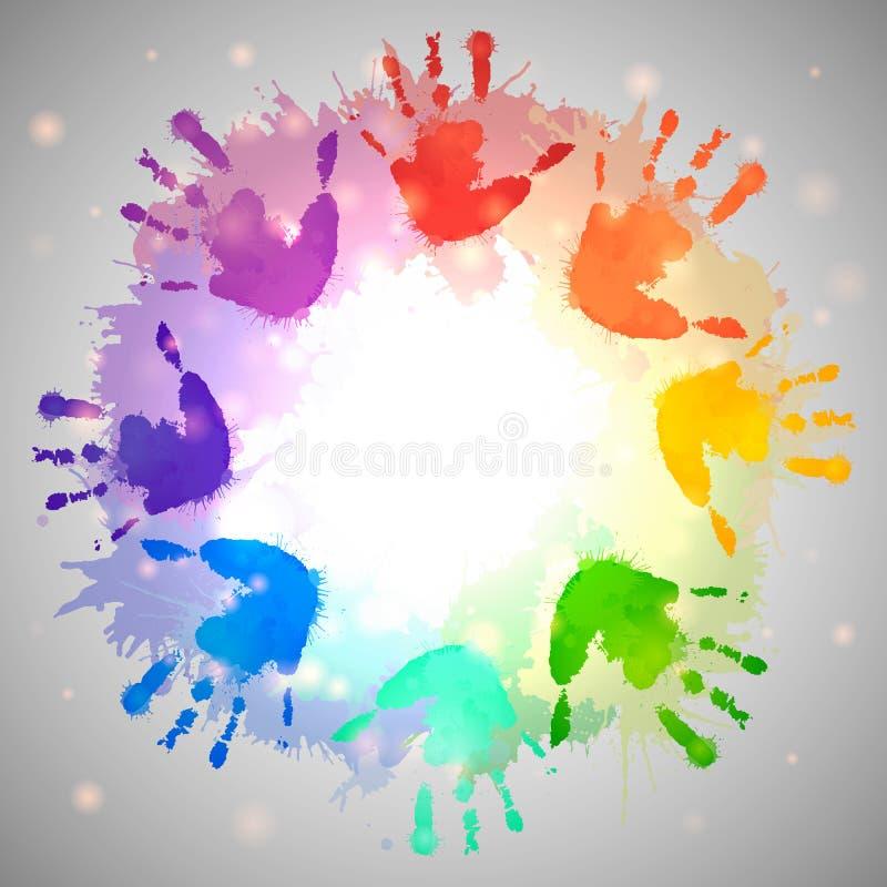 Tęcza druki dziecko ręki i akwareli pluśnięcia ilustracja wektor