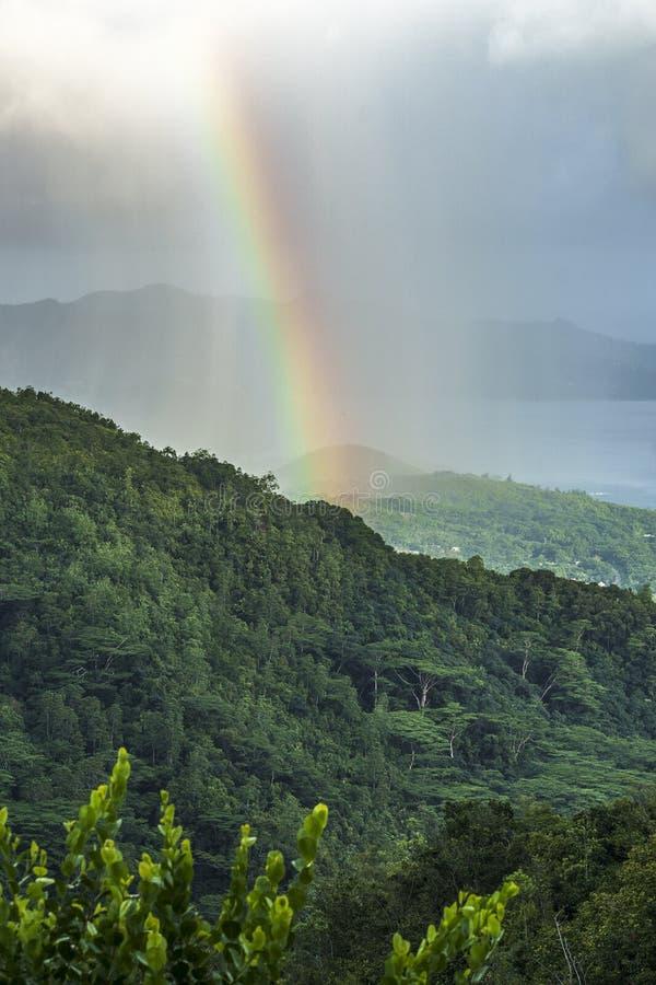 Tęcza i deszcz nad górami mahé i dżunglą, seychel fotografia stock