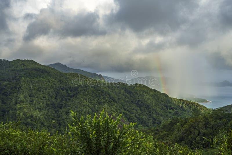 Tęcza i deszcz nad górami mahé i dżunglą, seychel obraz royalty free