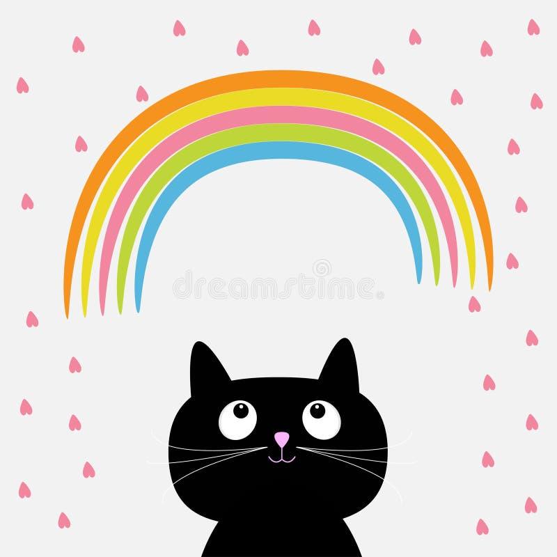 Tęcza i menchii serce padamy z ślicznym kreskówka kotem Płaski projekta styl ilustracja wektor