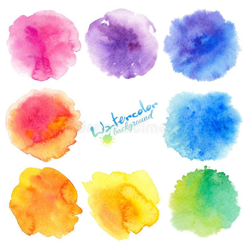 Tęcza kolorów akwareli farba plami tła ustawiających royalty ilustracja