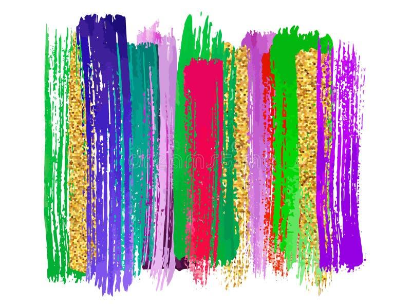 Tęcza kolorów akwareli farba plami wektorowych tła ustawiających Odosobneni przedmioty royalty ilustracja
