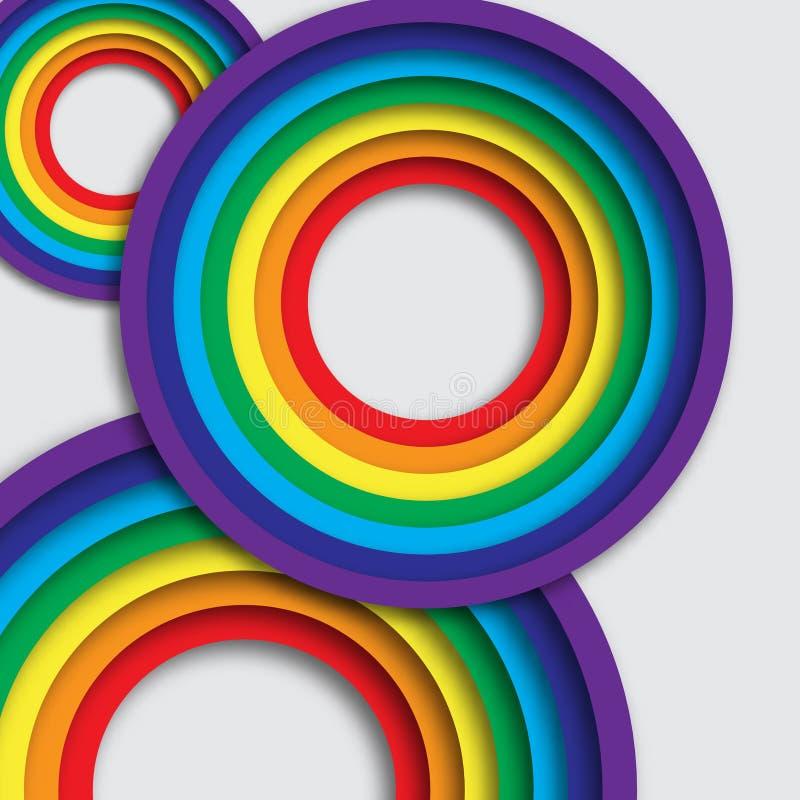 Tęcza kolorowi okręgi ilustracji