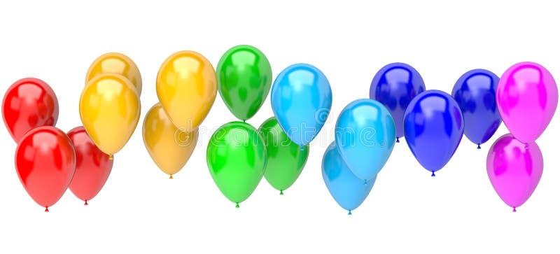 Tęcza koloru balony ilustracja wektor