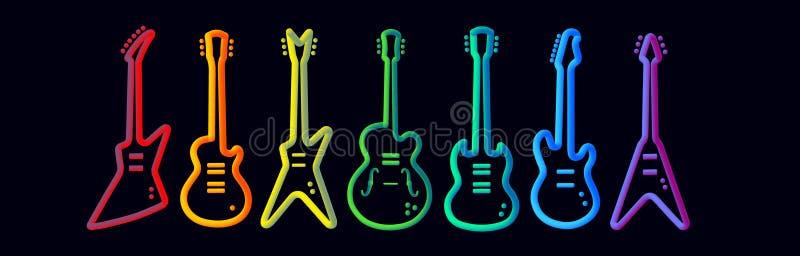 Tęcza koloru instrumentów muzycznych sylwetki projekta pojęcia zespołu rockowego neonowy rurujący abstrakcjonistyczny występ royalty ilustracja