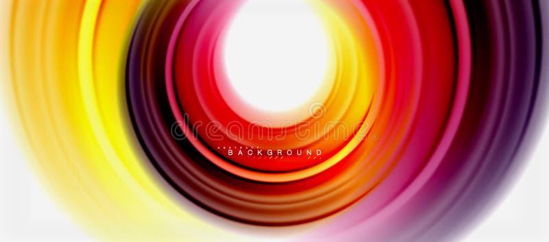 Tęcza koloru linii rzadkopłynny abstrakcjonistyczny tło - wiruje i okręgi, kręcony ciekły colours projekt, kolorowy marmur lub ilustracji