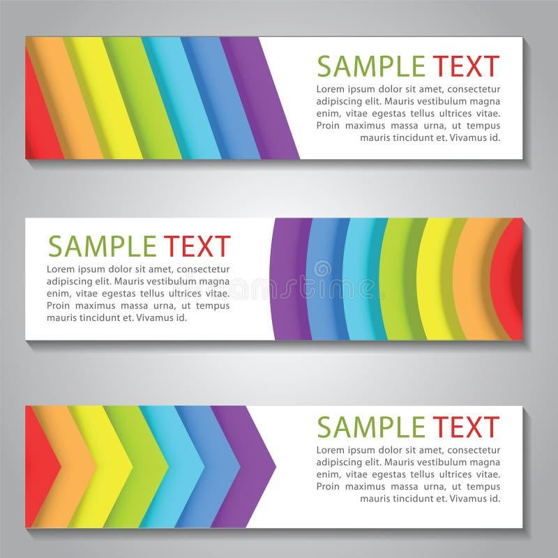 Tęcza koloru sztandar dato che projekt strona internetowa, i adaptujemy tło ilustracja wektor