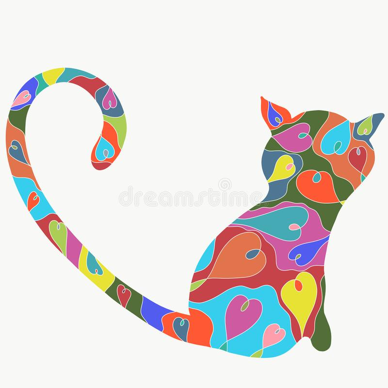 Tęcza kot w sercach z długim ogonem w formie wymuszonego ilustracja wektor