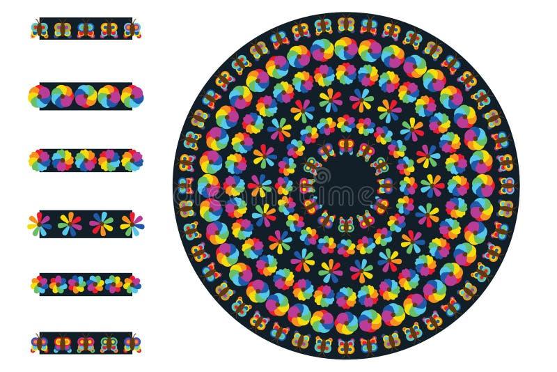Tęcza kwiatu wzoru muśnięcia okrąg royalty ilustracja