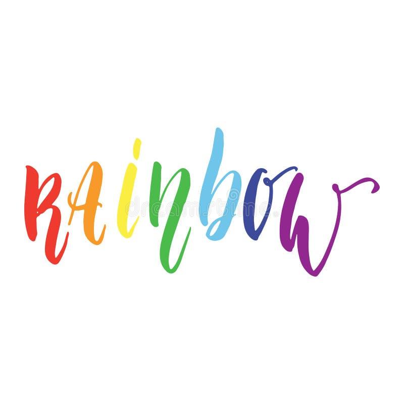 Tęcza - LGBT sloganu literowania ręka rysująca wycena z sercem odizolowywającym na białym tle Zabawa atramentu szczotkarska inskr royalty ilustracja