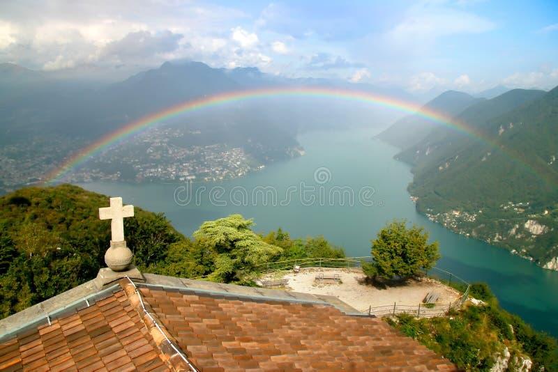 tęcza Lugano lake fotografia royalty free