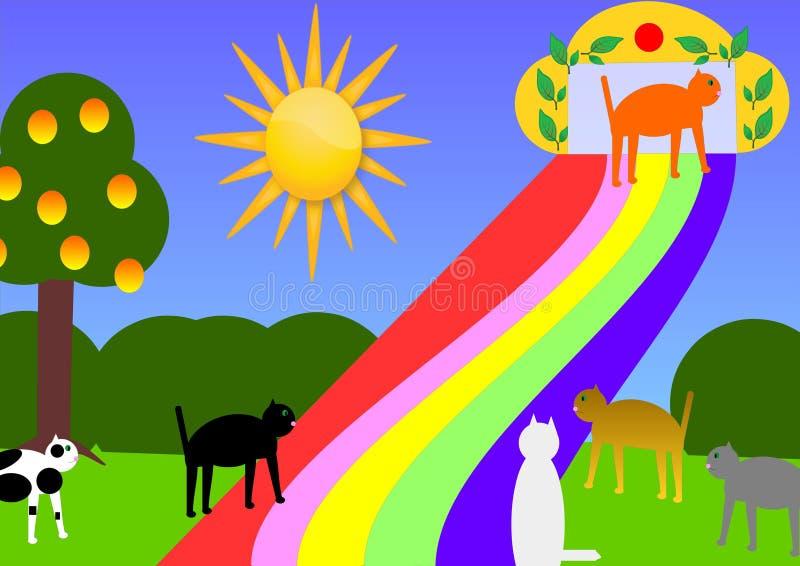 Tęcza most dla kotów royalty ilustracja
