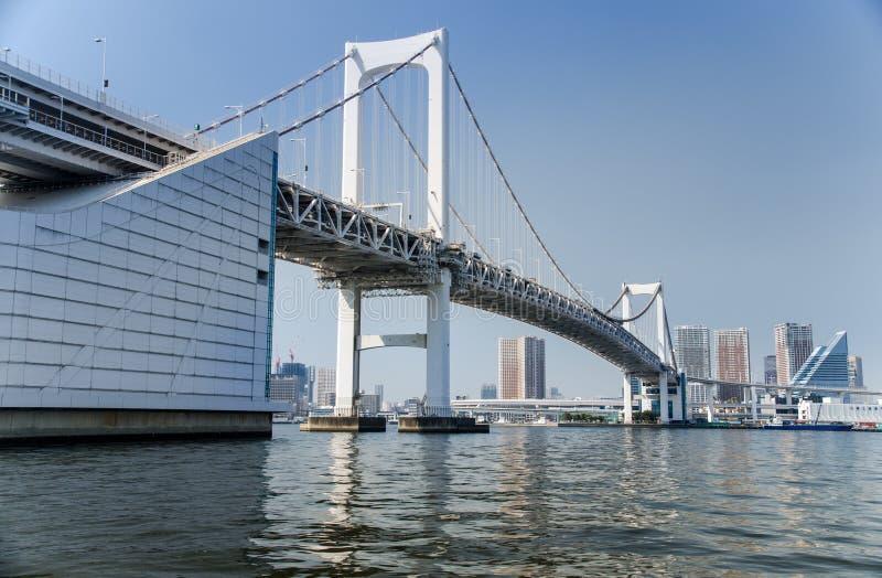 Tęcza most jest mostem na Tokio zatoce między Shibaura molem i Odaiba nabrzeżem mieszkania architektury budynku budynk?w betonowe obrazy stock