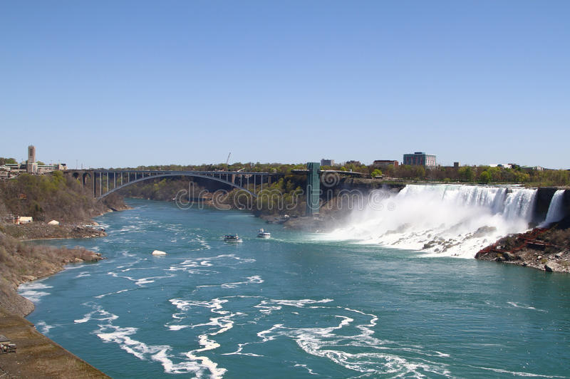 Tęcza most Niagara spadki zdjęcie royalty free