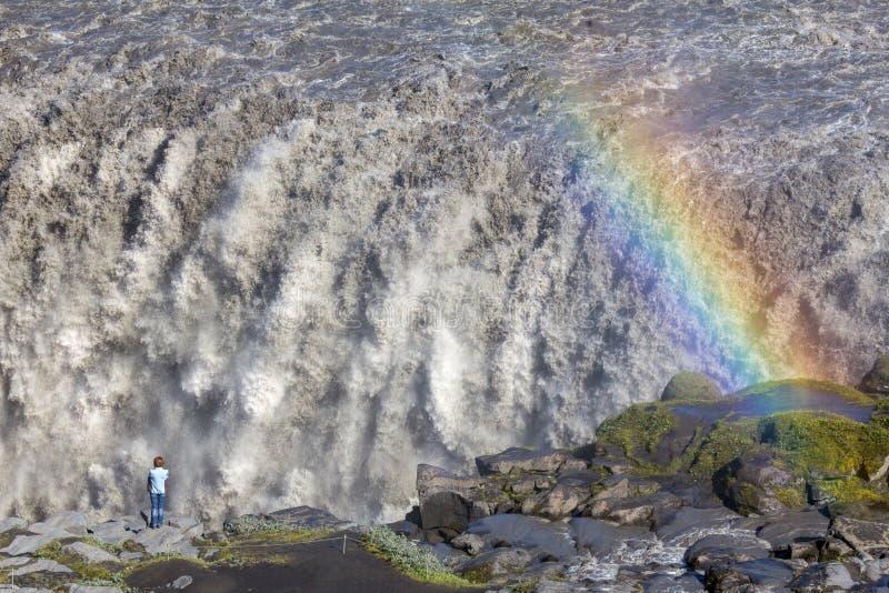 Tęcza na Dettifoss siklawie, Iceland zdjęcie stock