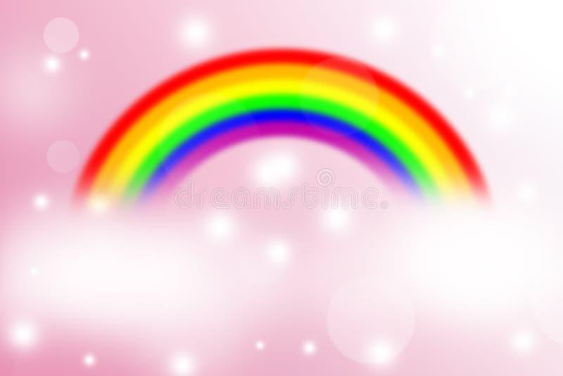 Tęcza na plamy i światła abstrakcjonistycznym tle, różowy tło ilustracji