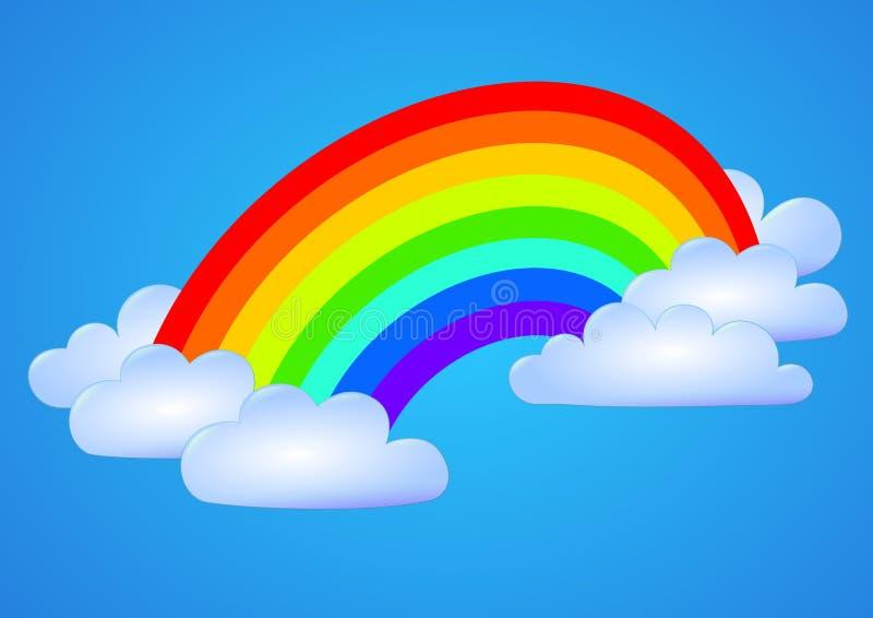 Tęcza nad chmurami i niebieskim niebem ilustracja wektor