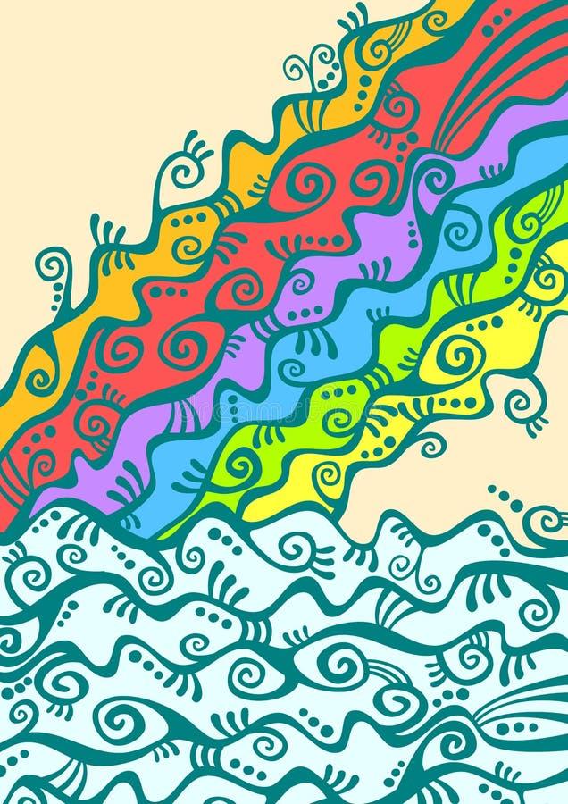 Tęcza nad rzeką lub oceanem ilustracja wektor