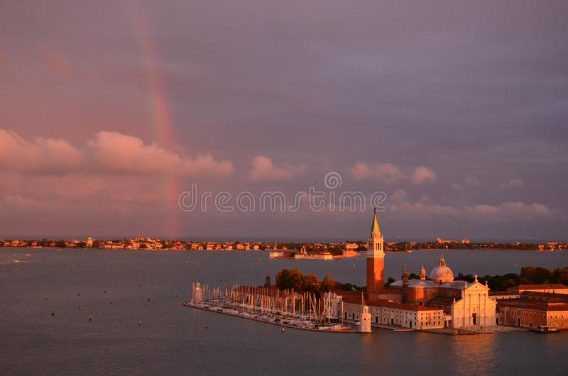 Tęcza nad Wenecja fotografia stock