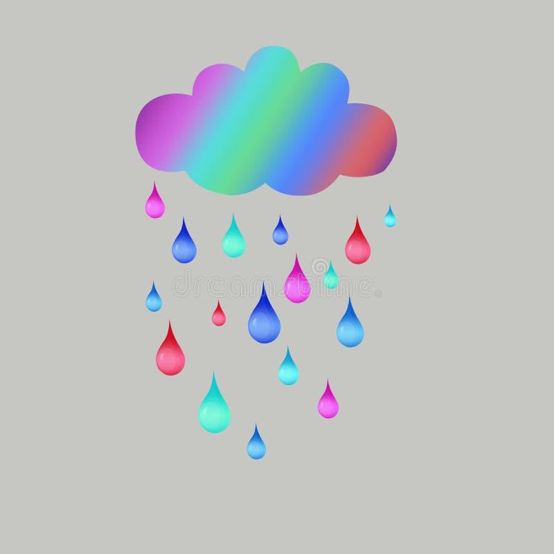 Tęcza obłoczna i barwiący raindrops, pociągany ręcznie ilustracja wektor