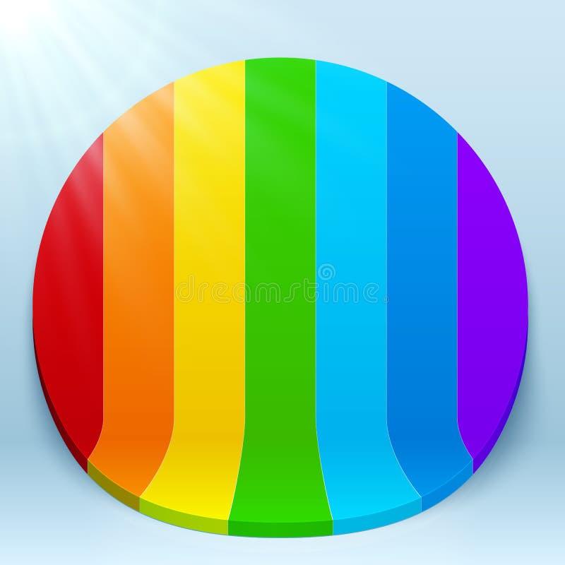Tęcza paskuje 3d plastikowego wektorowego okrąg ilustracji