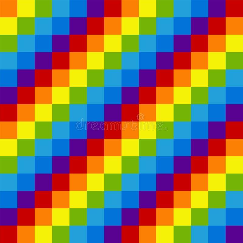 Tęcza piksla bezszwowy wzór Naprzemianległy barwiony diagonalny squ royalty ilustracja