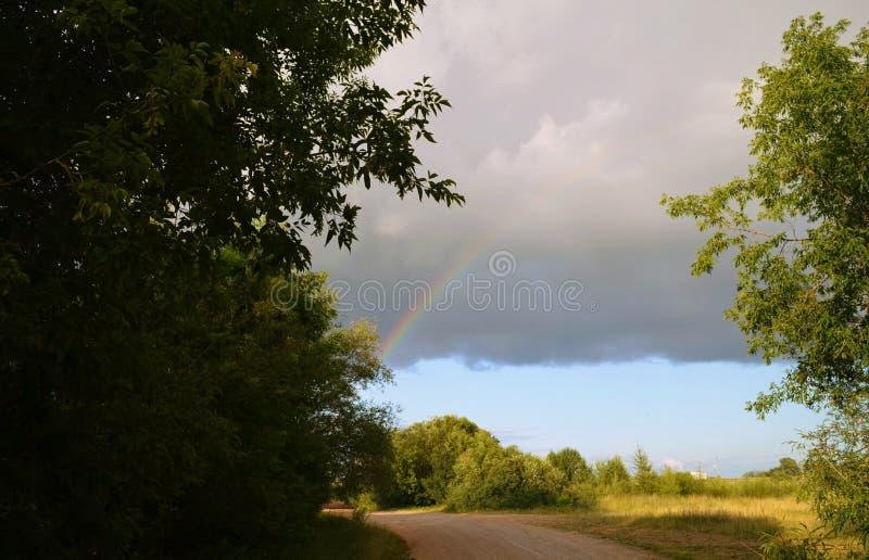 Tęcza po silnego pieczarka deszczu zdjęcie royalty free