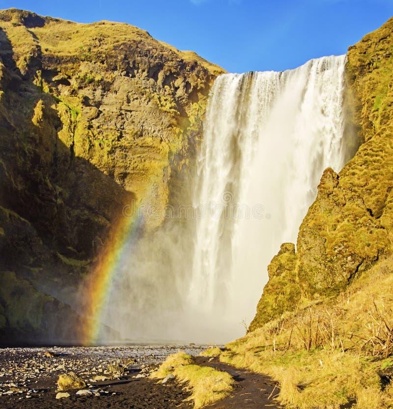 Tęcza przy Skogafoss siklawą Iceland obraz stock