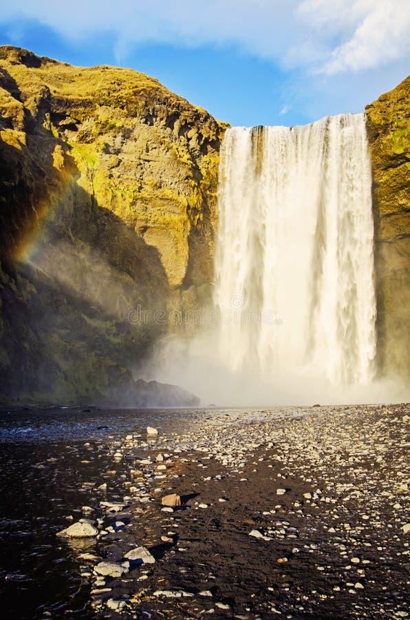 Tęcza przy Skogafoss siklawą Iceland obraz royalty free