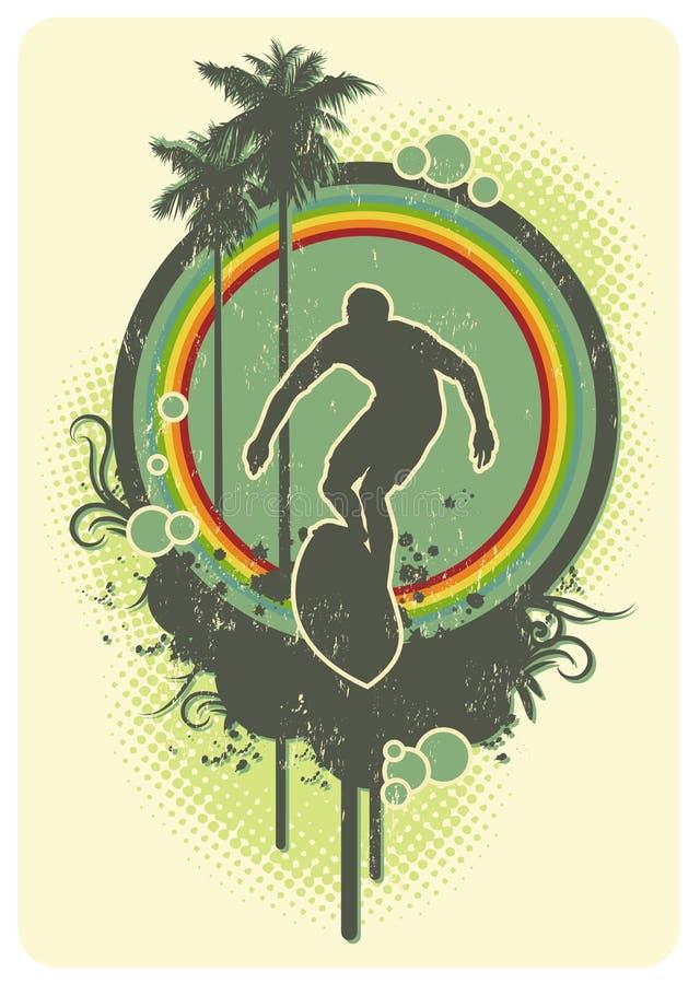 tęcza surf ilustracji